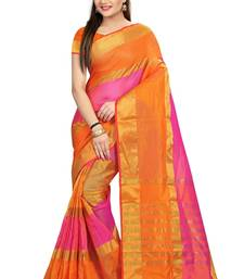 Buy Multicolor plain cotton saree with blouse cotton-saree online