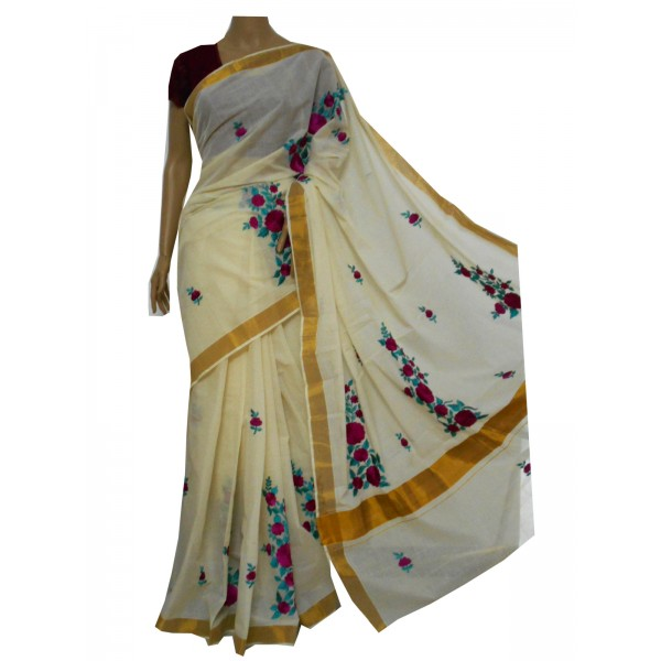 Buy Kerala Cotton Saree With Floral Embroidery Online