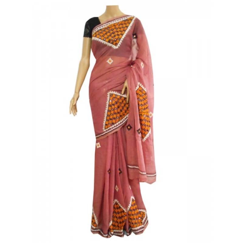 Buy Coral Pink Cotton Saree With Hand Embroidered Gurjari Work Online