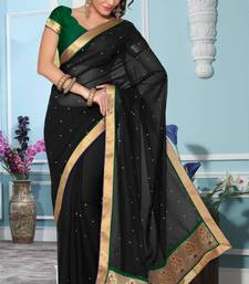 Buy Party wear Black faux georgette saree with blouse georgette-saree online