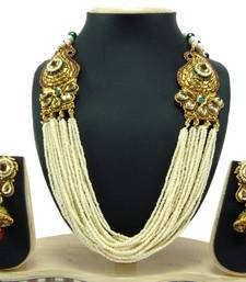 Aria Jodha style faux pearl ruby green gold tone necklace earring set p43 shop online