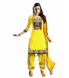Buy Yellow embroidered cotton semi stitched salwar with dupatta eid-special-salwar-kameez online