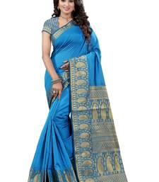 Buy Blue printed cotton silk saree with blouse kota-silk-saree online