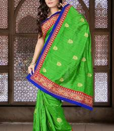 Buy Neon Green Color Bhagalpuri Silk Party Wear Saree with Blouse bhagalpuri-silk-saree online