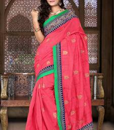 Buy Carrot Red Color Bhagalpuri Silk Party Wear Saree with Blouse bhagalpuri-silk-saree online