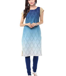 Buy Blue printed crepe kurtas-and-kurtis long-kurti online