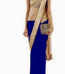 Buy Chic Royal Blue & Gold Partywear Saree georgette-saree online