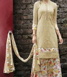 Buy Beige embroidered georgette unstitched salwar with dupatta ethnic-suit online