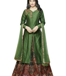 Buy Green embroidered cotton silk unstitched kameez with pakistani lehenga semi-stitched-salwar-suit online