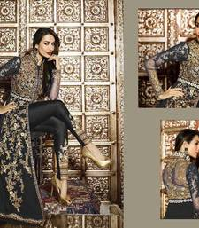 Buy Black embroidered georgette semi stitched slawar with dupatta malaika-arora-khan online
