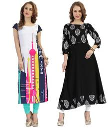 Buy multicolor printed crepe stitched kurti combo-kurti online