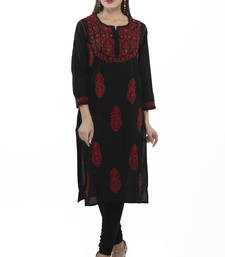 Buy Black embroidered cotton ethnic-kurtis chikankari-kurti online