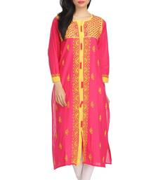 Buy Magenta embroidered cotton embroidered-kurtis chikankari-kurti online