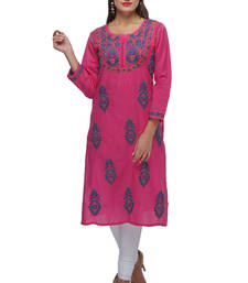 Buy Pink embroidered cotton embroidered-kurtis chikankari-kurti online