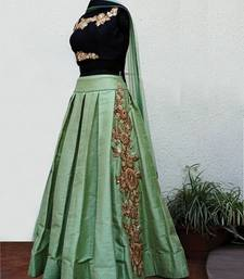 Buy Green embroidered dupion silk unstitched lehenga lehenga-choli online