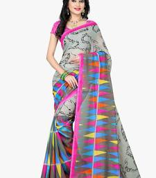 Buy Grey printed chiffon saree with blouse chiffon-saree online