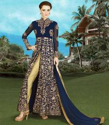 Buy Blue embroidered georgette semi stitched salwar with dupatta wedding-salwar-kameez online