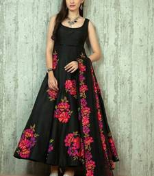 Buy Black printed crepe semi stitched salwar with dupatta dress-material online
