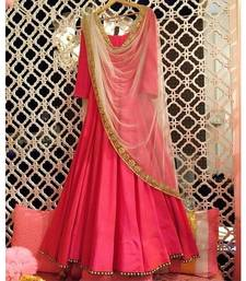 Buy Pink embroidered satin semi stitched salwar with dupatta dress-material online