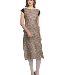 Buy grey geometric print crepe stitched kurtis long-kurti online