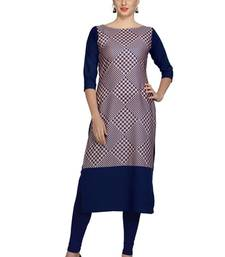 Buy blue faux crepe crepe stitched kurtis long-kurti online
