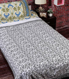 Buy White & Black Cotton Jaal & Chekered Print Single Bed Dohar (Set of 2) duvet-cover online