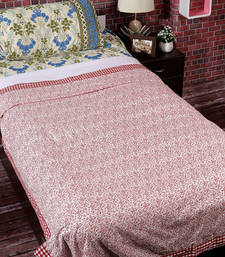 Buy White & Red 2 Pc Single Cotton Dohar with Paisley & Checkered Print duvet-cover online