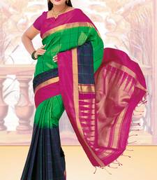 Buy Green and midnight blue weaved silk saree with blouse silk-saree online