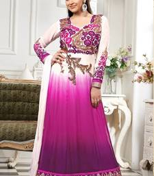 Buy Esha deol Pink And White georgette semi stitched long anarkali suit by fabfiza anarkali-salwar-kameez online