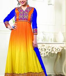 Buy Esha deol Orange And Yellow georgette semi stitched long anarkali suit by fabfiza anarkali-salwar-kameez online