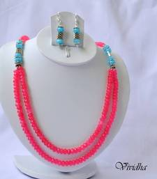 Buy  Two Layer  Blue and Pink beads Necklace Set Jewelry necklace-set online
