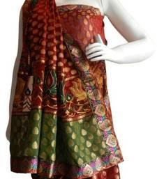 Buy Banarasi Chanderi Art Silk Brown Saree with Border and Blouse banarasi-silk-saree online