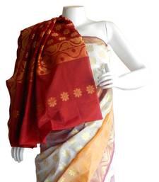Buy Banarasi Art Silk Off White Saree With Zari Work and Blouse banarasi-silk-saree online