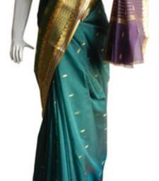 Buy Green & Purple Banarasi Silk Saree  2120-2178 banarasi-silk-saree online