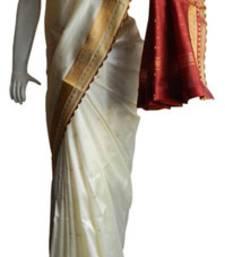 Buy Off White & Red Banarasi Silk Saree 17011-2220 banarasi-silk-saree online