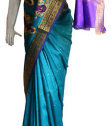 Buy Blue & Purple Banarasi Silk Saree 3805-2285 banarasi-silk-saree online