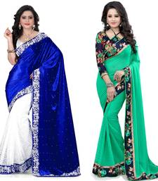 Buy Multicolor plain velvet saree with blouse sarees-combo-sari online