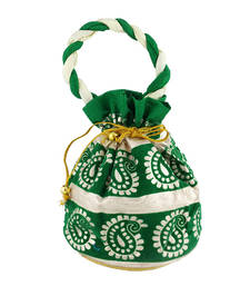Buy Goldencollections Green Hand Pouch potli-bag online