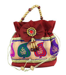 Buy Goldencollections Marron Leaf Hand Pouch potli-bag online
