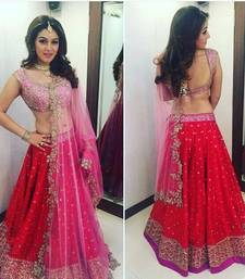 Buy Red embroidery art silk semi-stitched lehnga bollywood-lehenga online