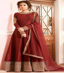 Buy Red embroidered taffeta semi stitched salwar with dupatta ethnic-suit online