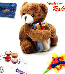 Buy Rakhi gift hamper online - Brown Teddy Bear rakhi-gifts-for-sister online