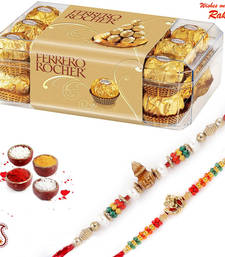 Buy Rakhi Chocolates gift- 16 pc Ferrero Rocher Chocolate and set of 02 Rakhi Hamper rakhi-gifts-for-sister online