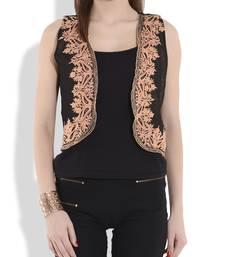 Buy Black and beige reversible kashmiri embroidery shrug ethnic-jacket online