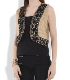 Buy Beige and black reversible kashmiri embroidery shrug ethnic-jacket online