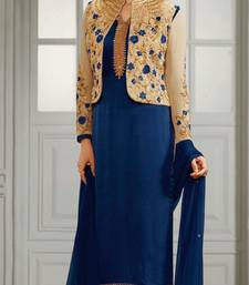 Buy Blue embroidered crepe semi stitched salwar with dupatta semi-stitched-salwar-suit online