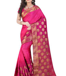 Buy Baby pink printed pure banarasi silk saree with blouse banarasi-saree online