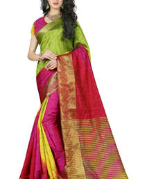 Buy Dark multicolor printed pure banarasi silk saree with blouse banarasi-saree online