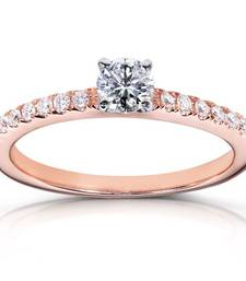 Buy Cara rose gold solitaire with studded band made in sterling silver and swarovski stone ring for women engagement-ring online