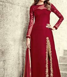 Buy Red embroidered velvet unstitched salwar with dupatta anarkali-salwar-kameez online